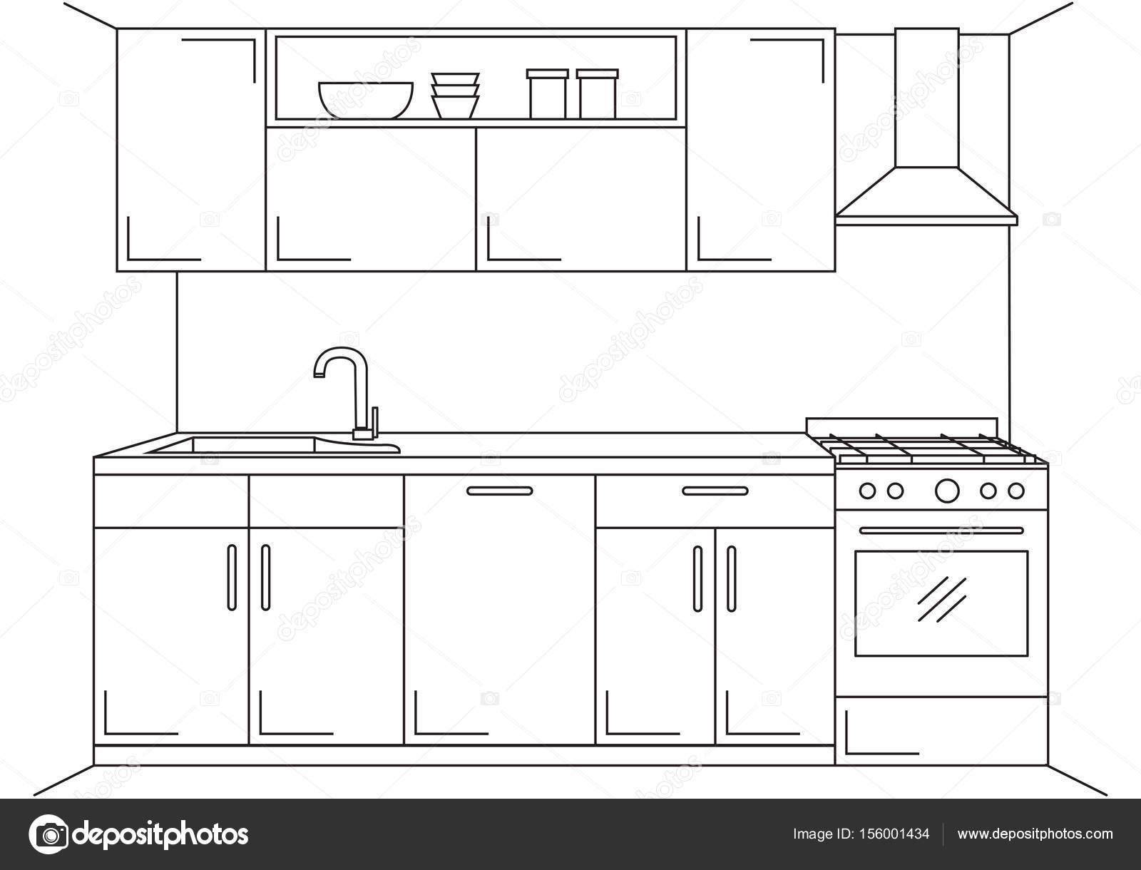 Cucina moderna. Mobili cucina con lavello, piano cottura e cappa ...