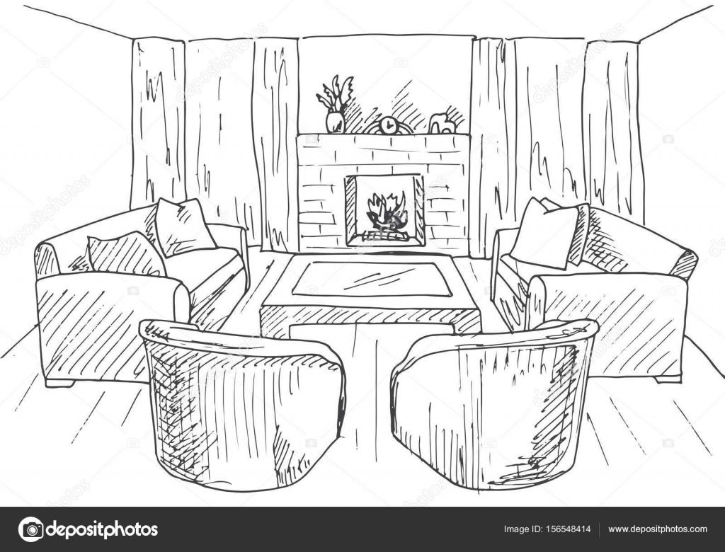 Modernes Interieur. Lounge mit Kamin, Sessel und Sofas. Vektor ...