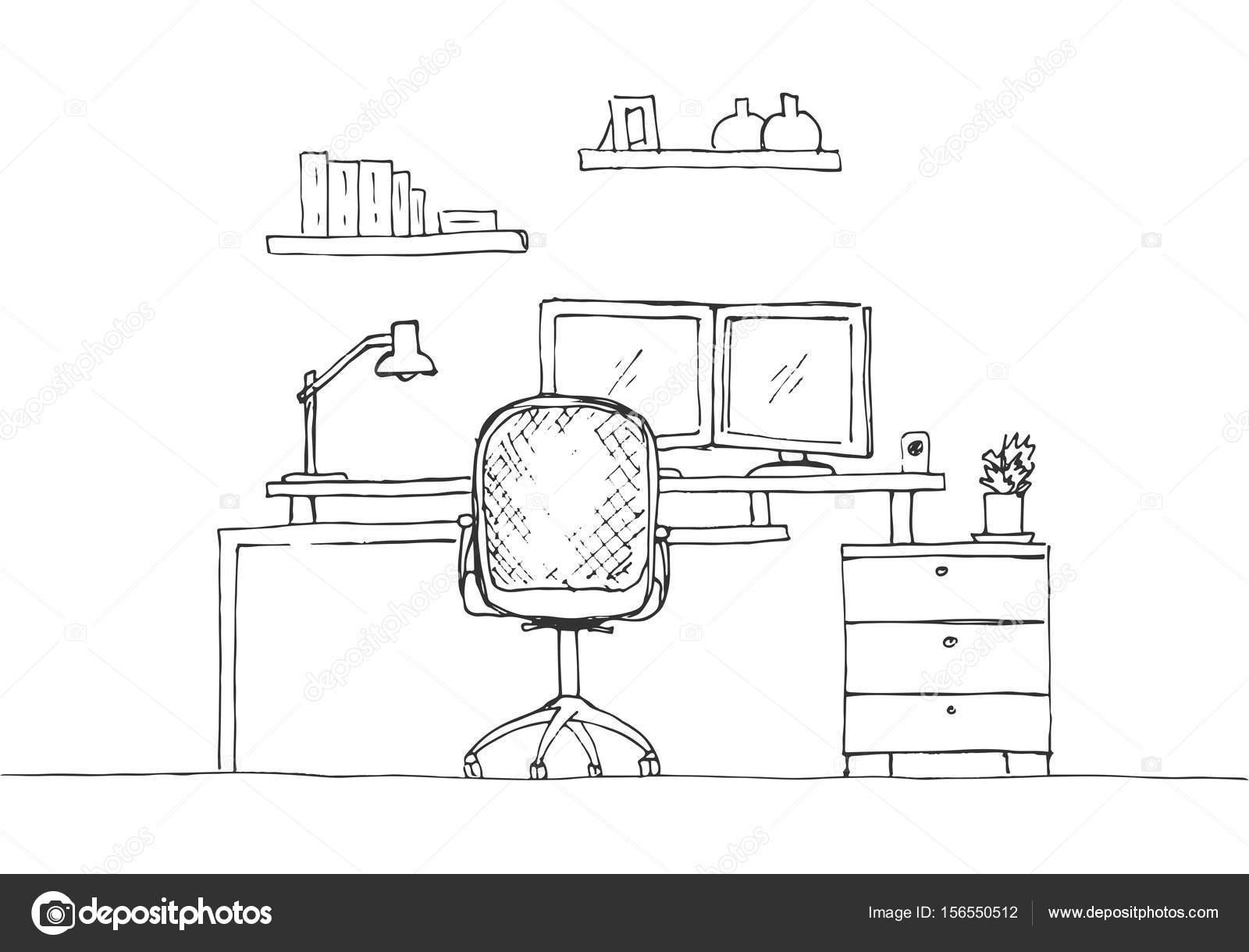 Bürostuhl skizze  Skizzieren Sie das Zimmer. Bürostuhl, Schreibtisch, verschiedene ...