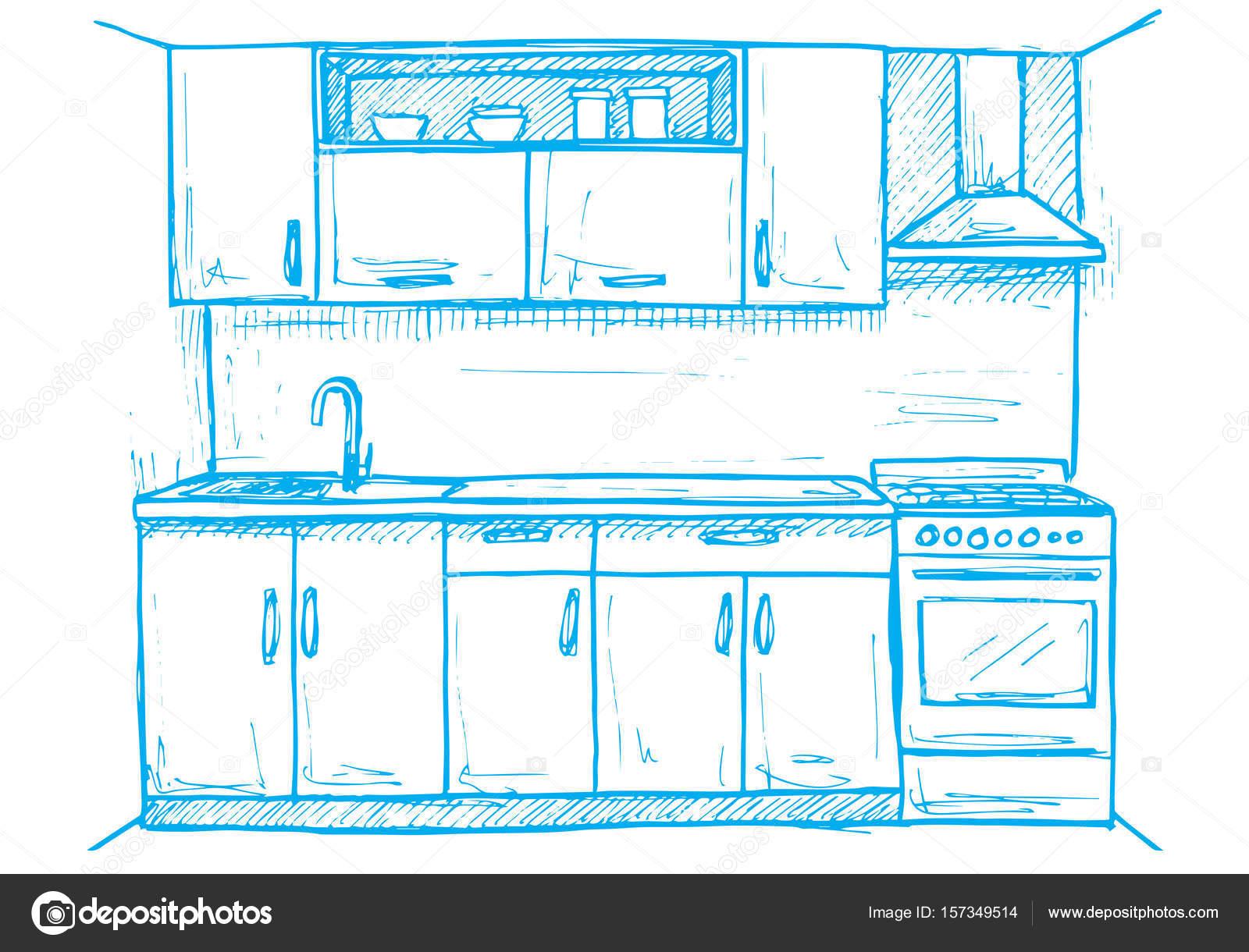 Muebles de cocina hechos a mano. Ilustración de vector de estilo ...