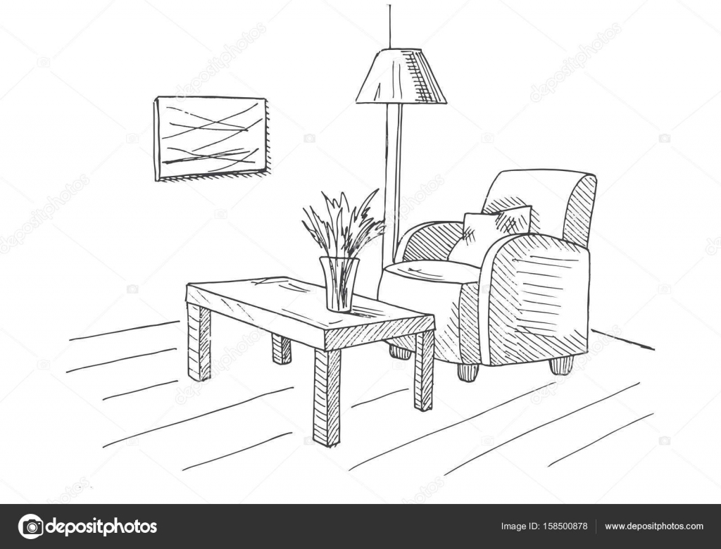 Armchair table with a vase floor lamp hand drawn vector armchair table with a vase floor lamp hand drawn vector illustration of a reviewsmspy