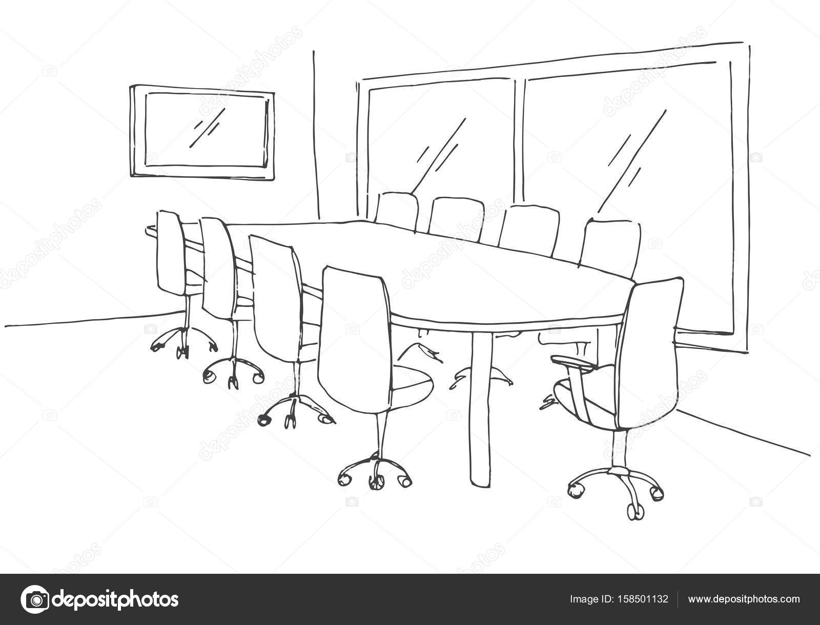 office chair drawing. Delighful Chair Conference Room In A Sketch Style Hand Drawn Office Desk Chair  Vector In Office Chair Drawing S
