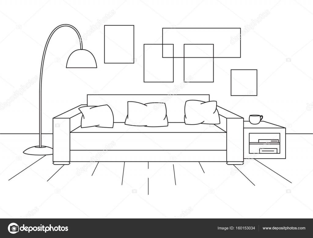 Modernes Interieur. Sofa, Stehlampe und Nachttisch. Die Uhr hängt an ...