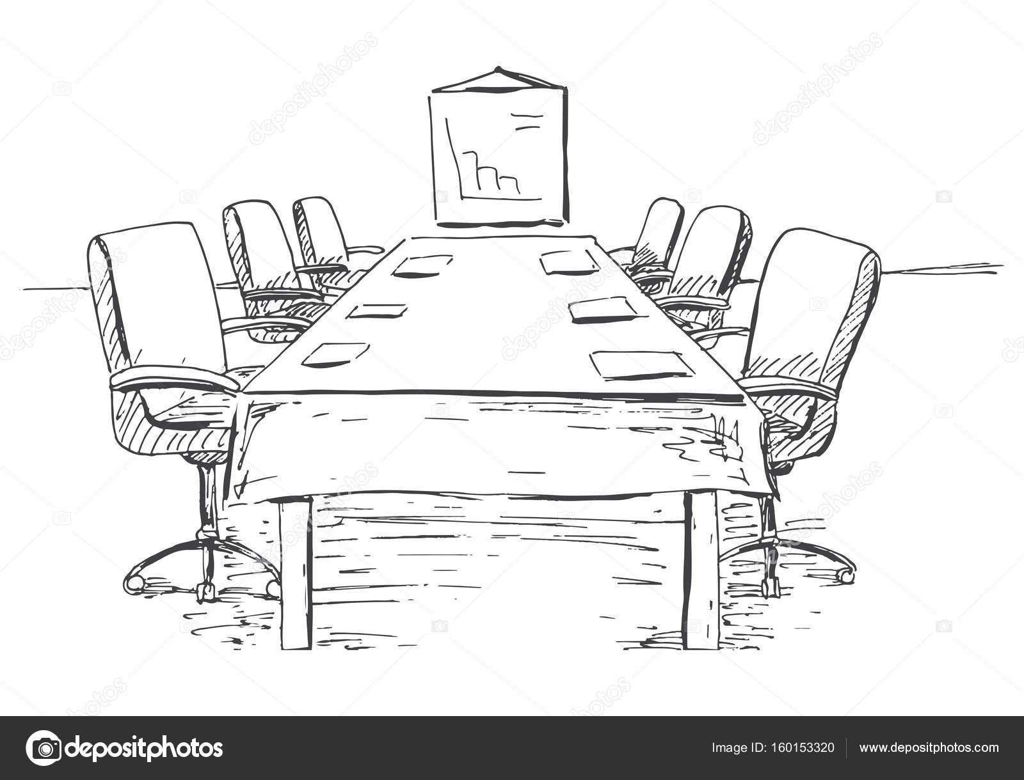 Bürostuhl skizze  Konferenzraum in einer Skizze-Stil. Hand gezeichnet Schreibtisch ...