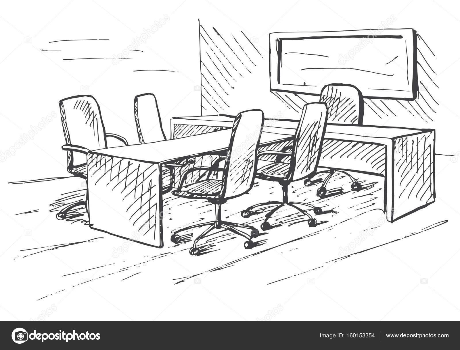 Oficina En Un Estilo De Dibujo Muebles De Oficina Hechos A Mano