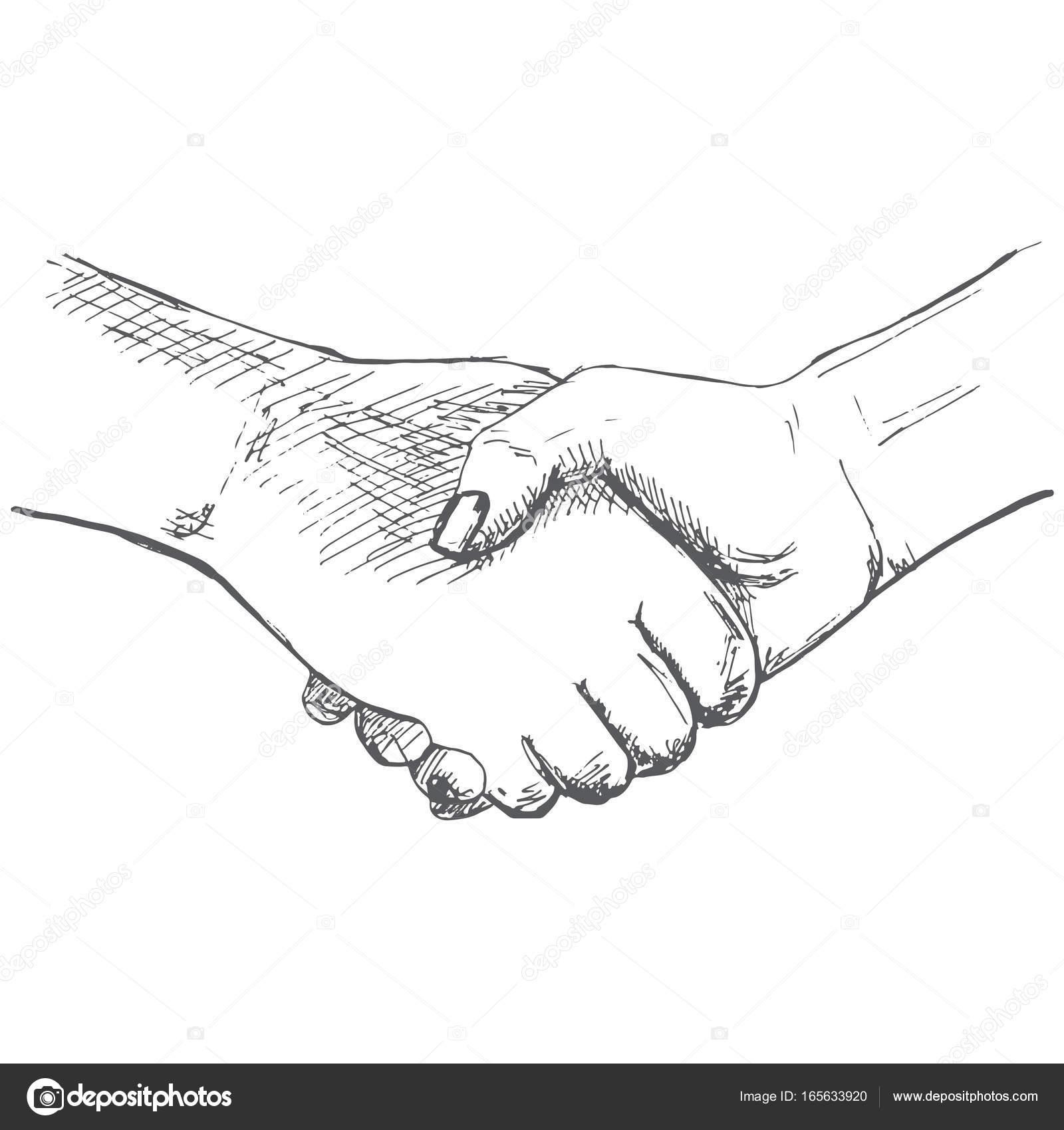 dos manos el apret n de manos ilustraci n de estilo boceto ilustraciones de vectores. Black Bedroom Furniture Sets. Home Design Ideas