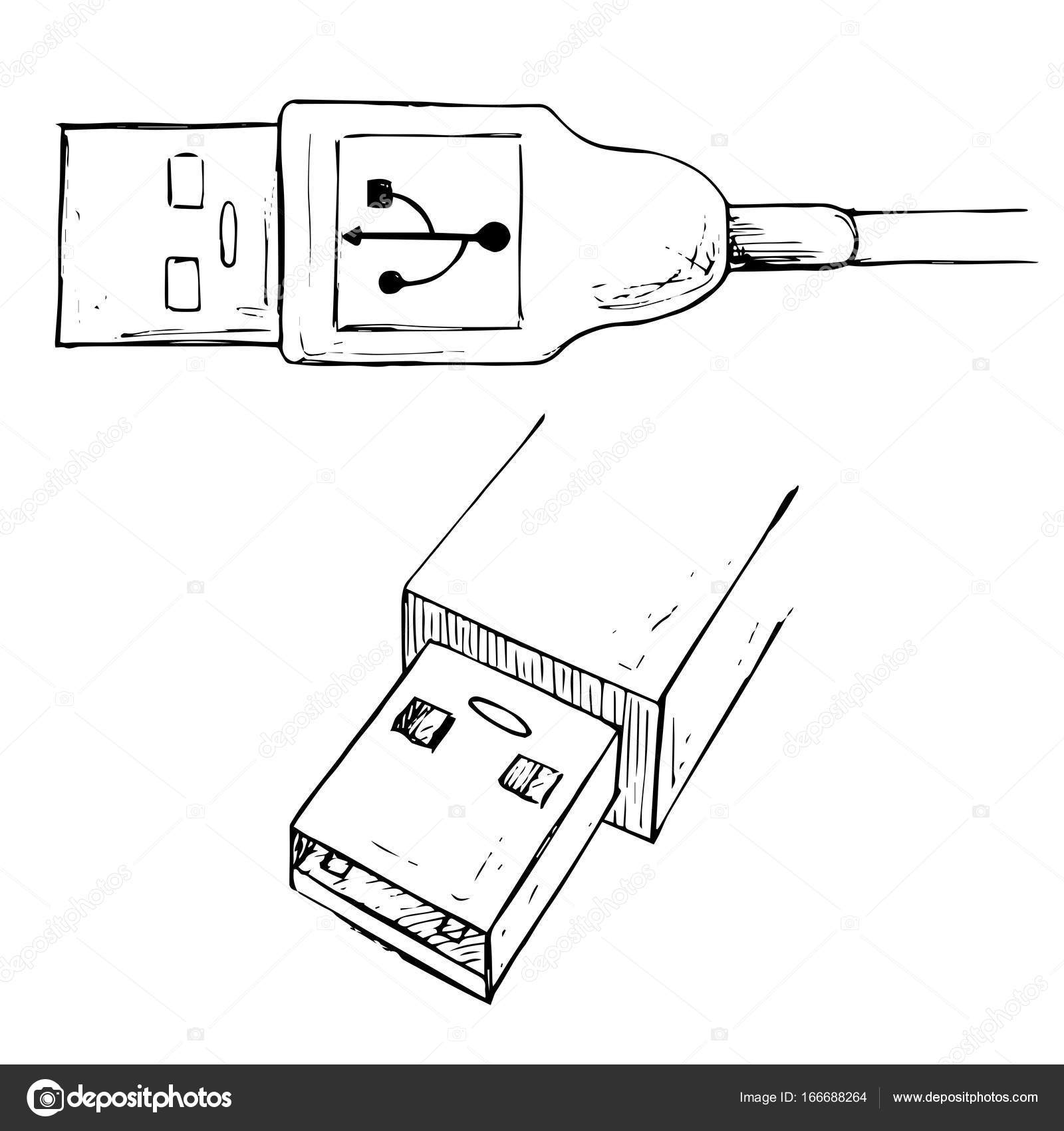usb cable line drawing