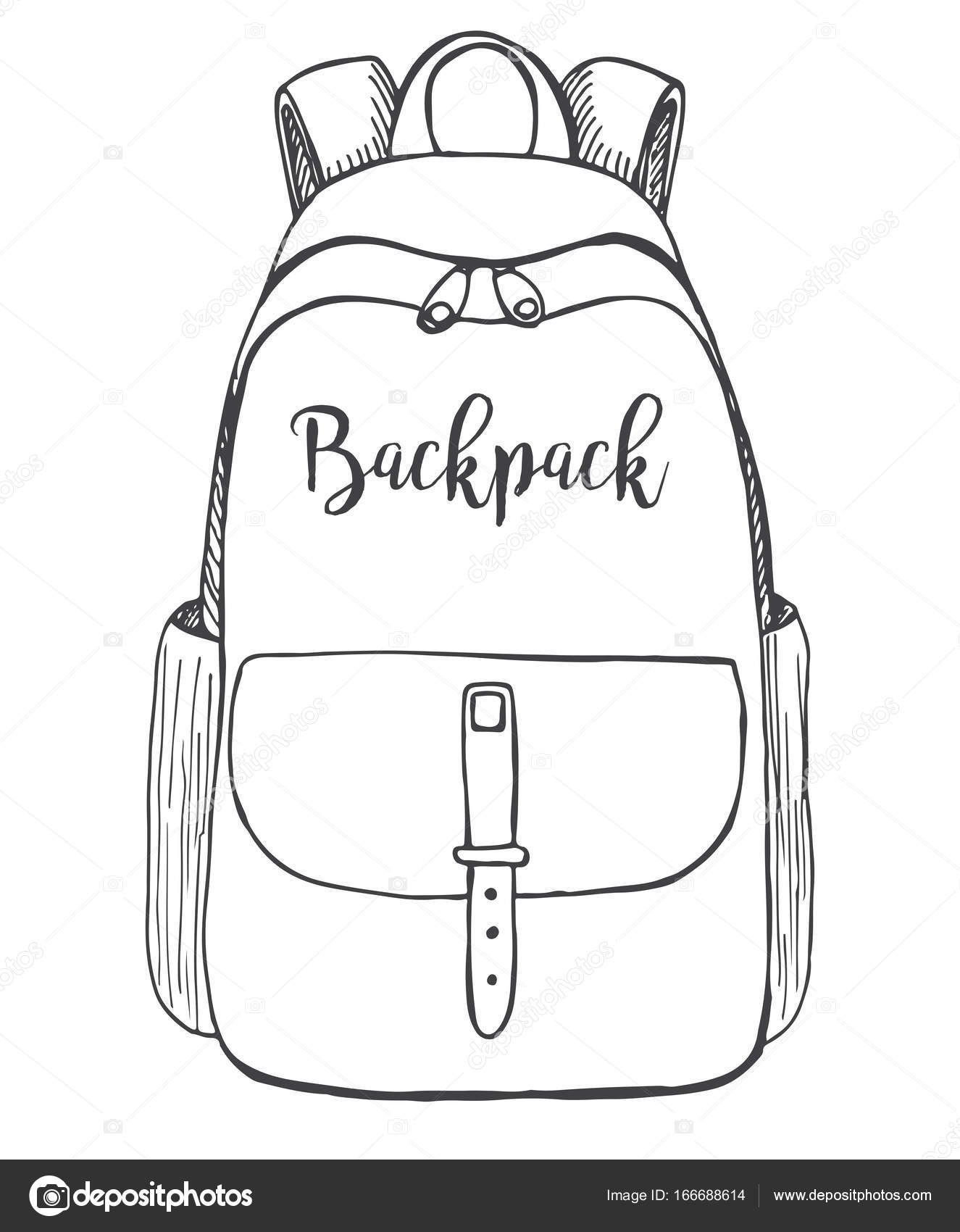 98ec3e658c9 Sketch of a rucksack. Backpack isolated on white background. Vector  illustration of a sketch style. — Vector by nadiia.kud.gmail.com