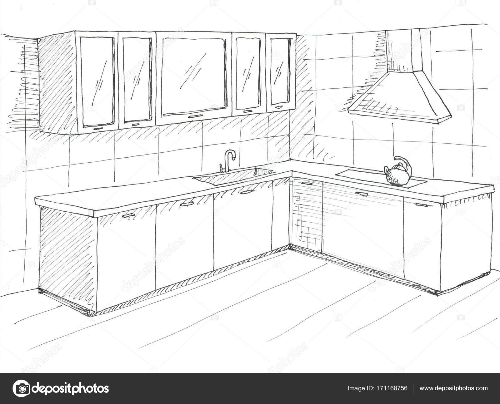 Mobili cucina disegnata a mano. Disegnare con una penna — Foto Stock ...