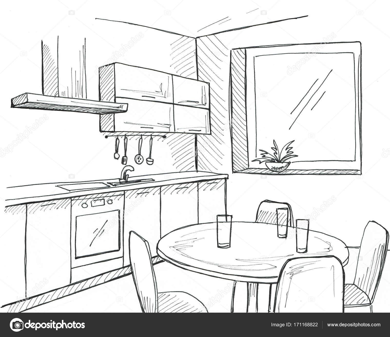 Cucina disegnata a mano con una finestra disegnare con - Disegnare una cucina componibile ...