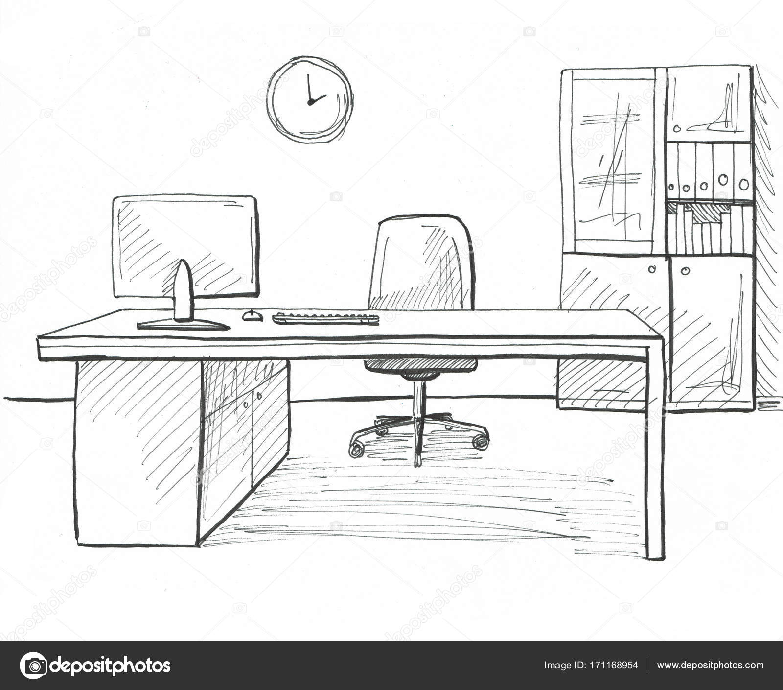Dibujos Muebles De Oficina Oficina En Un Estilo De Dibujo