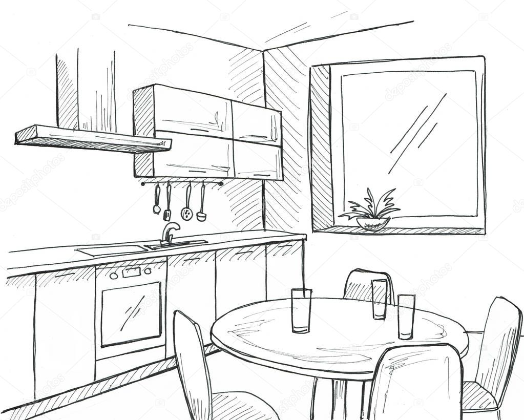 Cucina disegnata a mano con una finestra disegnare con - Disegnare una cucina ...