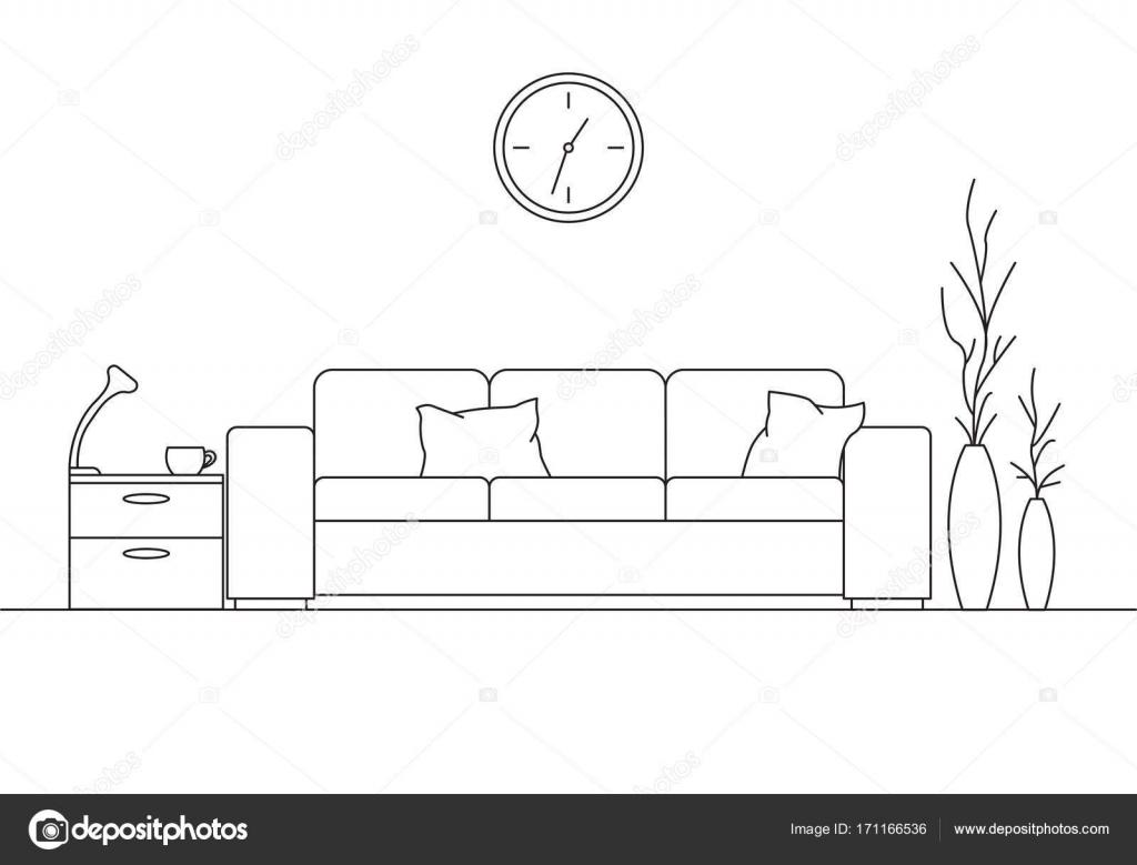Modernes Interieur. Sofa, Lampe und Nachttisch Tisch. Die Uhr hängt ...