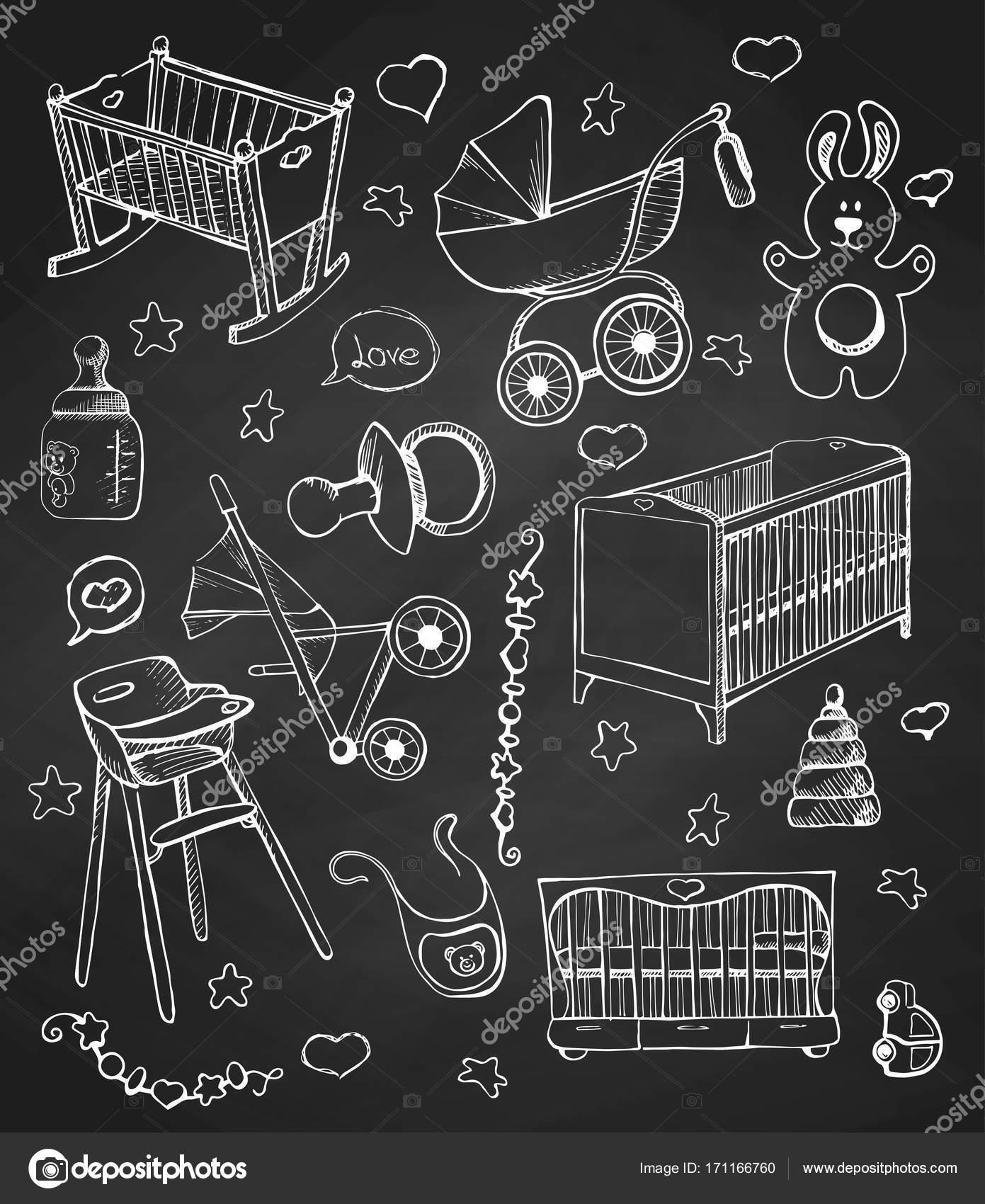 Encuentra Dibujado En Una Pizarra A Mano Muebles De Los Ni Os  # Muebles Pizarra