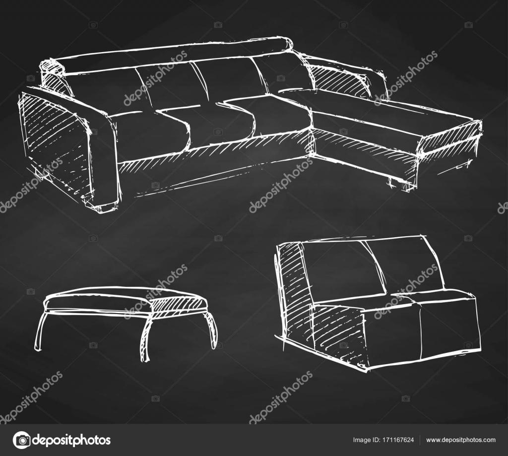 Boceto Conjunto Muebles Aislados Tiza De Dibujado A Mano Sobre  # Muebles Pizarra