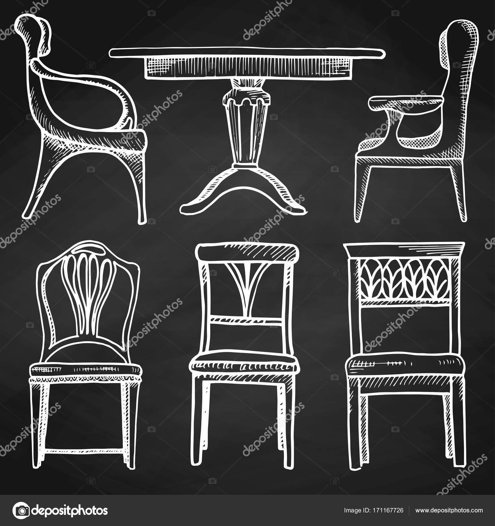 Boceto Conjunto Muebles Aislados Mesas Y Sillas Diferentes Tiza  # Muebles Pizarra