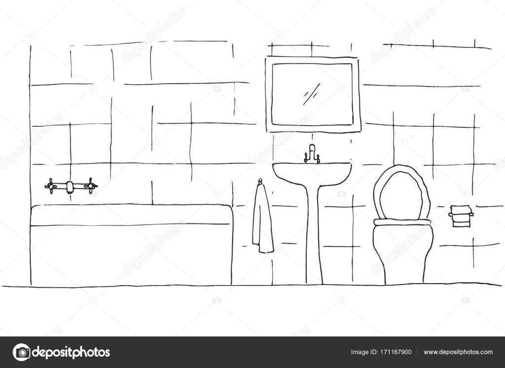 Schizzo disegnato a mano. schizzo lineare di un interno. parte del