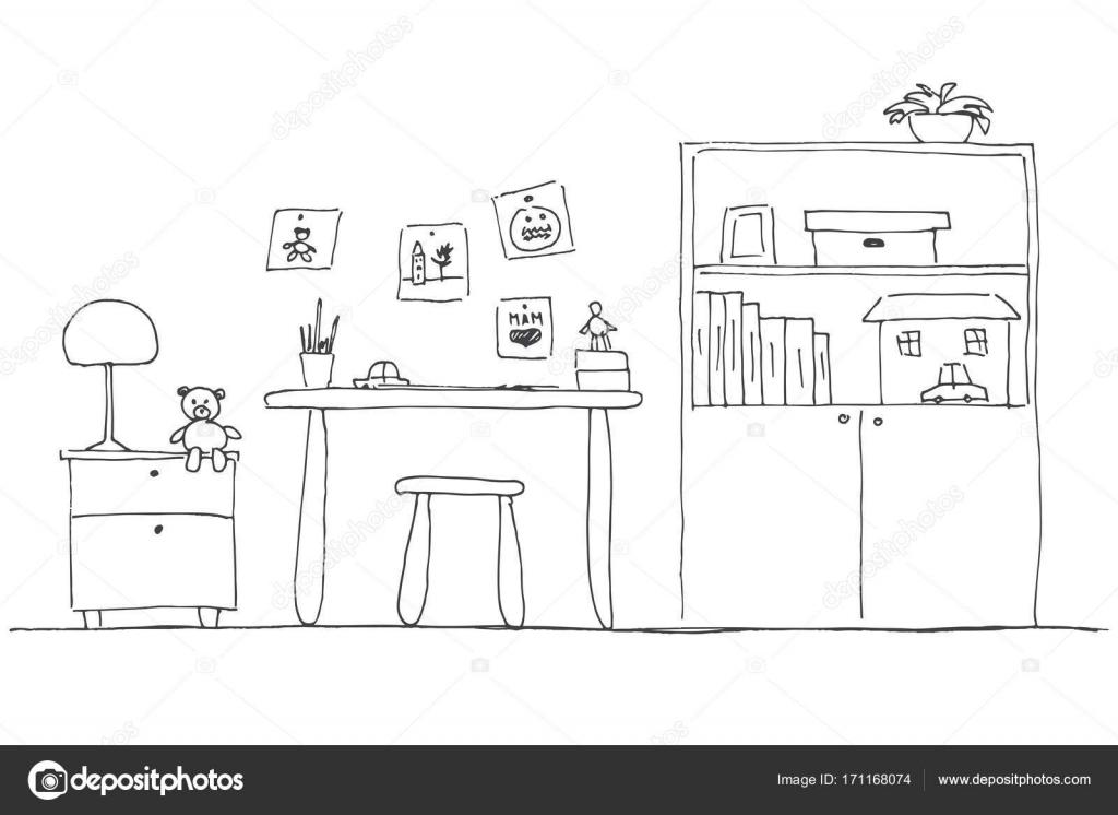 Arbeitsplatz Fur Das Kind Kinderzimmer Hand Gezeichnet Vektor Illustration Stockvektor