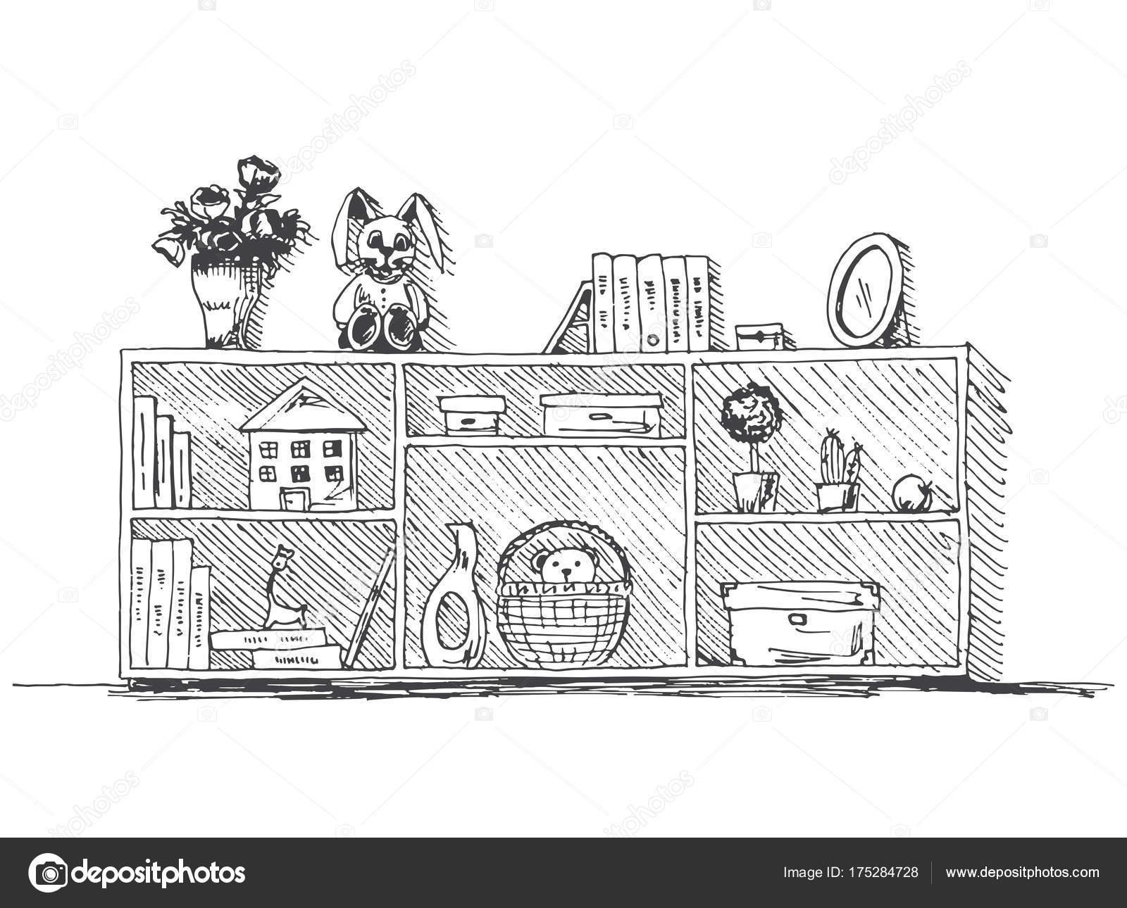Kommode mit Regalen mit Kinder Sachen. Vektor-Illustration im Stil ...