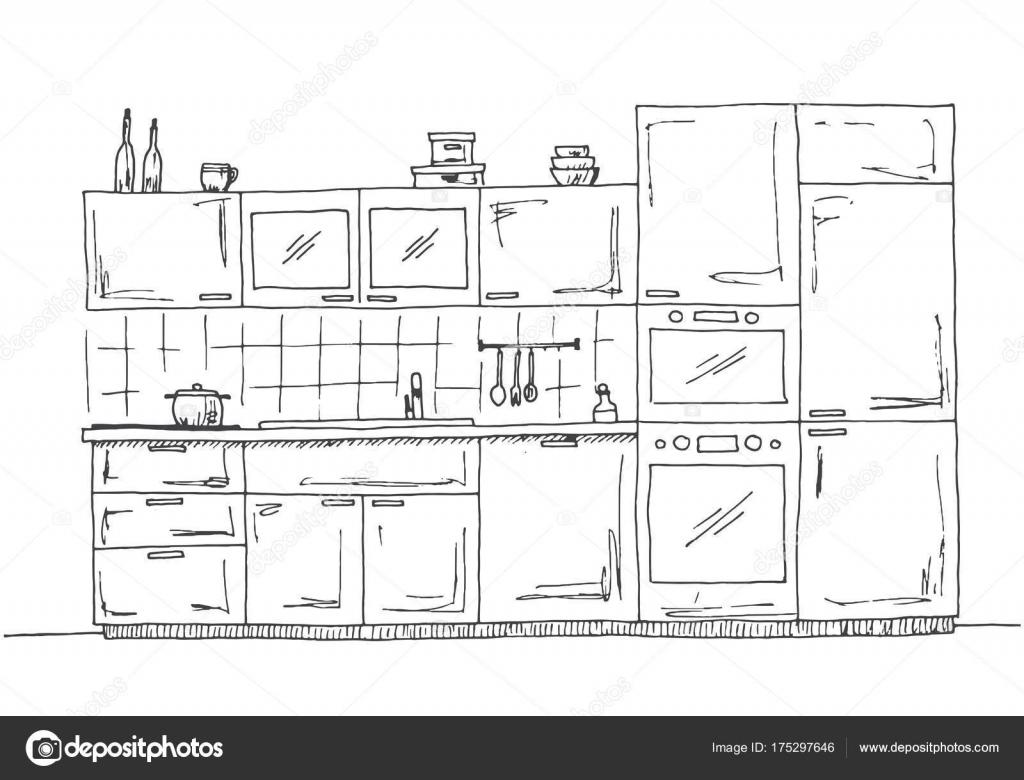 Muebles de cocina dibujado a mano. Cocina con microondas, horno y ...