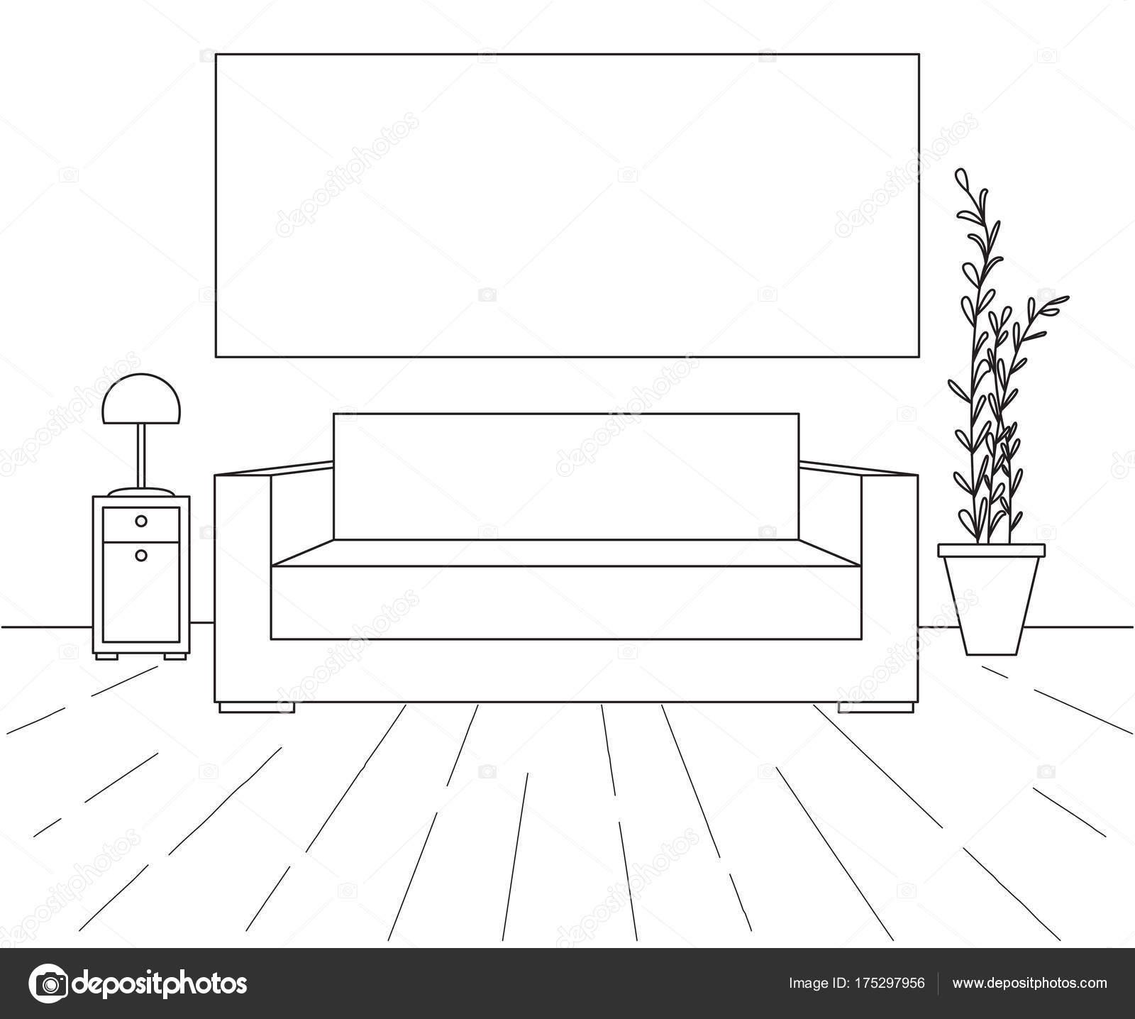 Interior moderno. Sofá, lámpara de pie y mesita de noche. Marco en ...