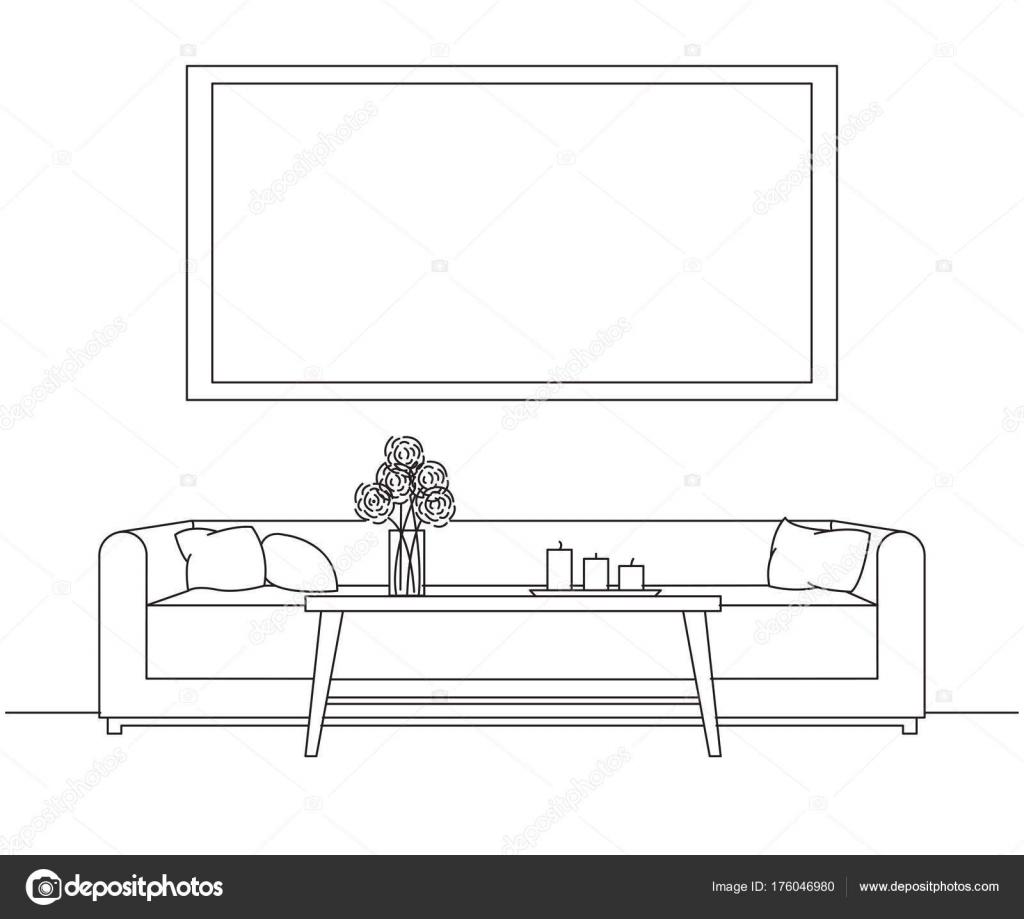 Modernes Interieur. Sofa, Tisch vor dem Sofa. Auf dem Tisch eine ...