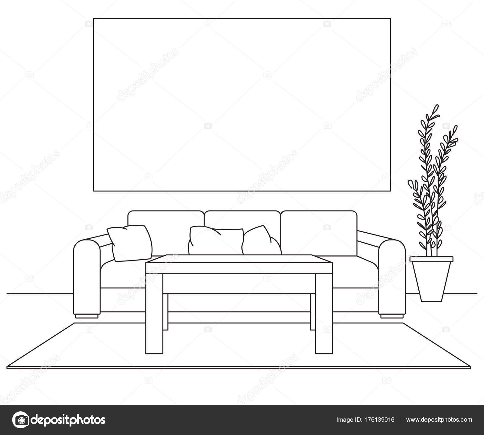 Modernes Interieur. Sofa, Lampe und Nachttisch Tisch. Vor dem Sofa ...
