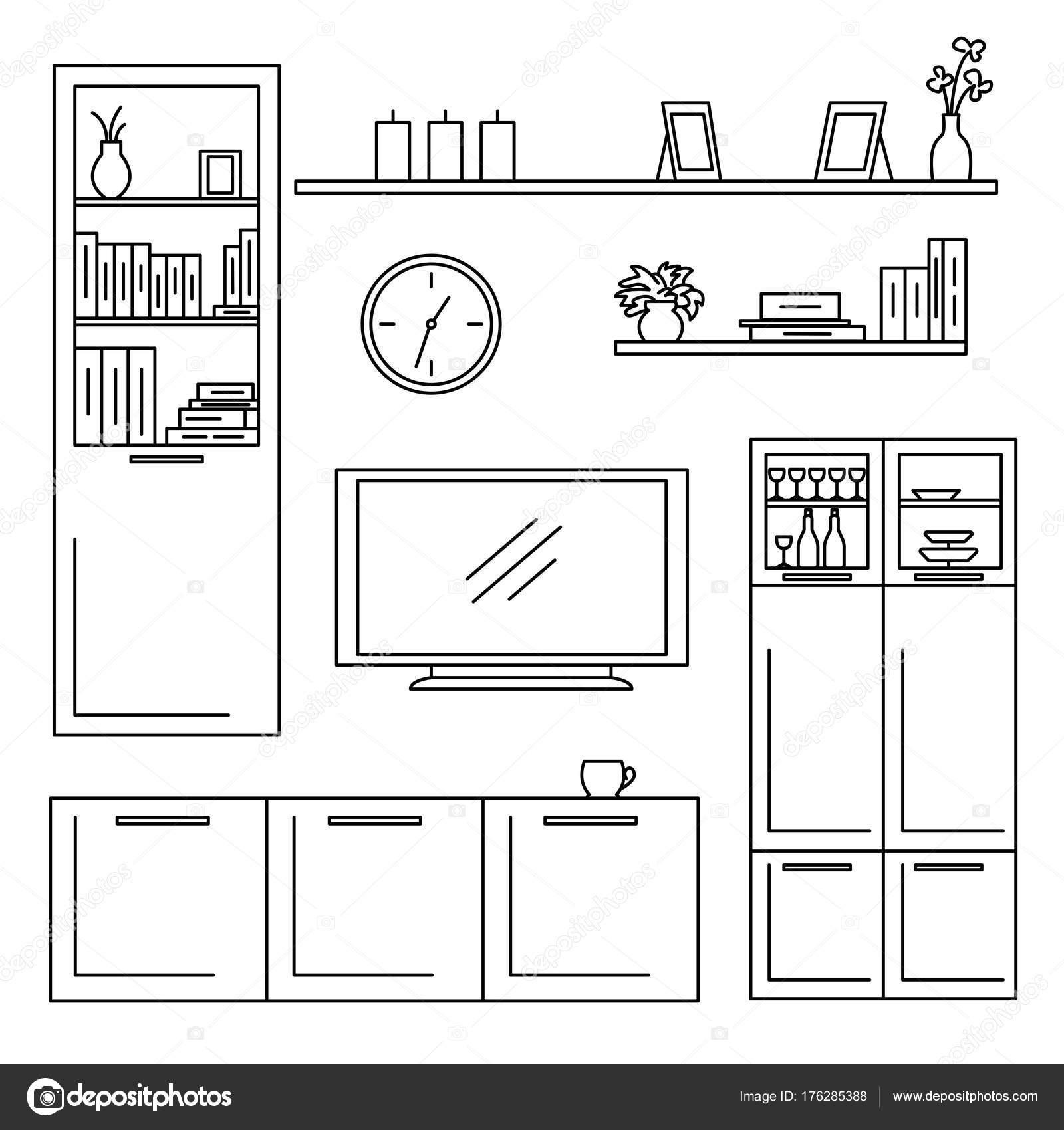 Skizze set isoliert Möbel. Vektor-Illustration in einem linearen ...