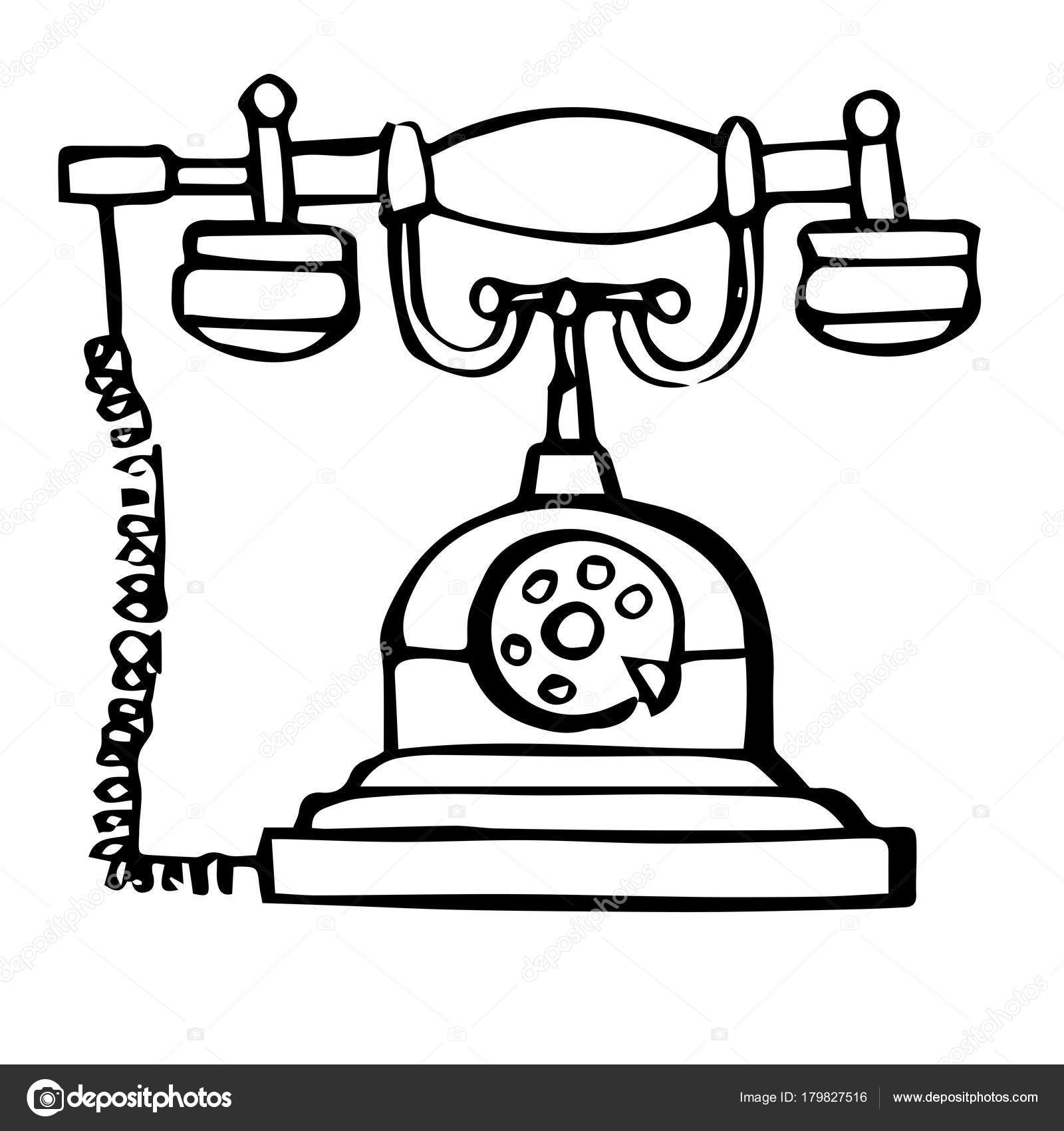 Imágenes Telefono Fijo Para Colorear Dibujo De Teléfono Retro