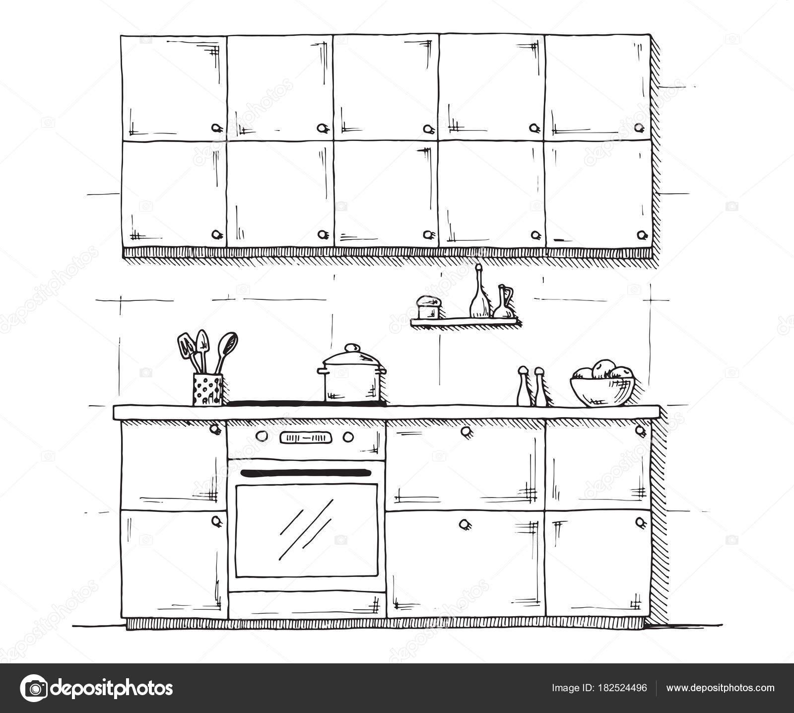 Croquis de muebles | Croquis de muebles de cocina sobre un fondo ...