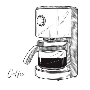 Sketch of coffee maker isolated on white background. Vector illustration