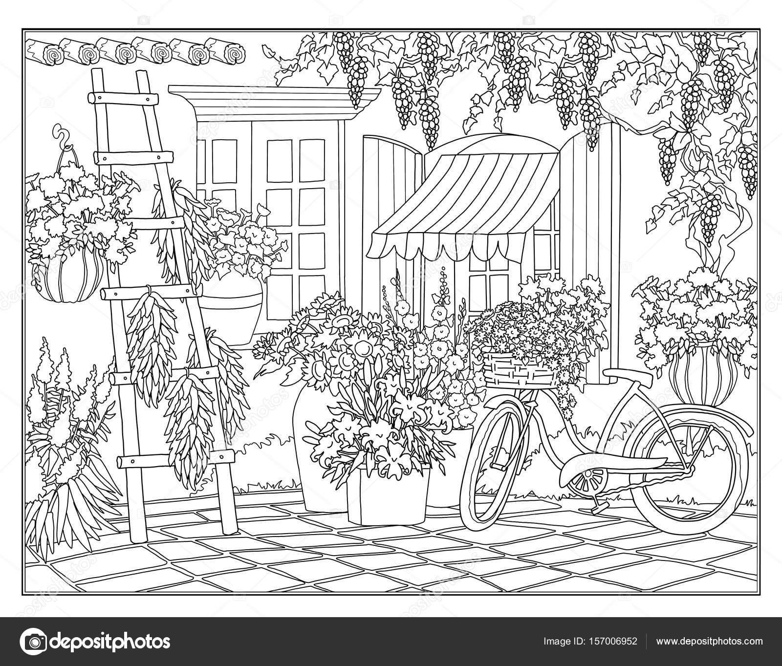 Sayfa Ayçiçeği Ile Bisiklet Boyama Stok Foto Larisakuzovkova