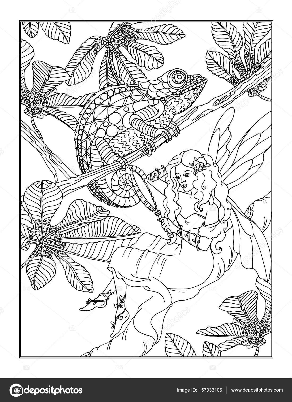 Boyama Sayfası Peri Stok Foto Larisakuzovkova 157033106