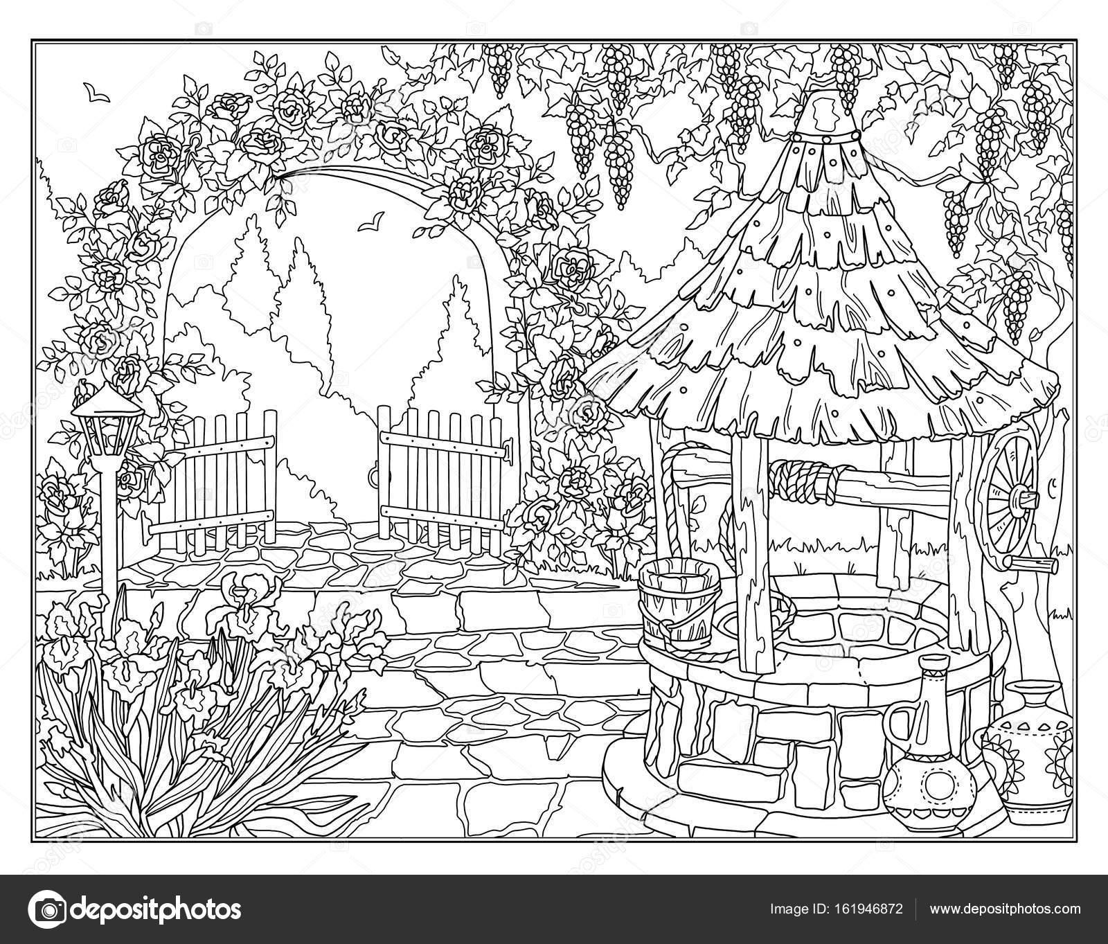 Boyama Sayfa Bahçe Stok Foto Larisakuzovkova 161946872