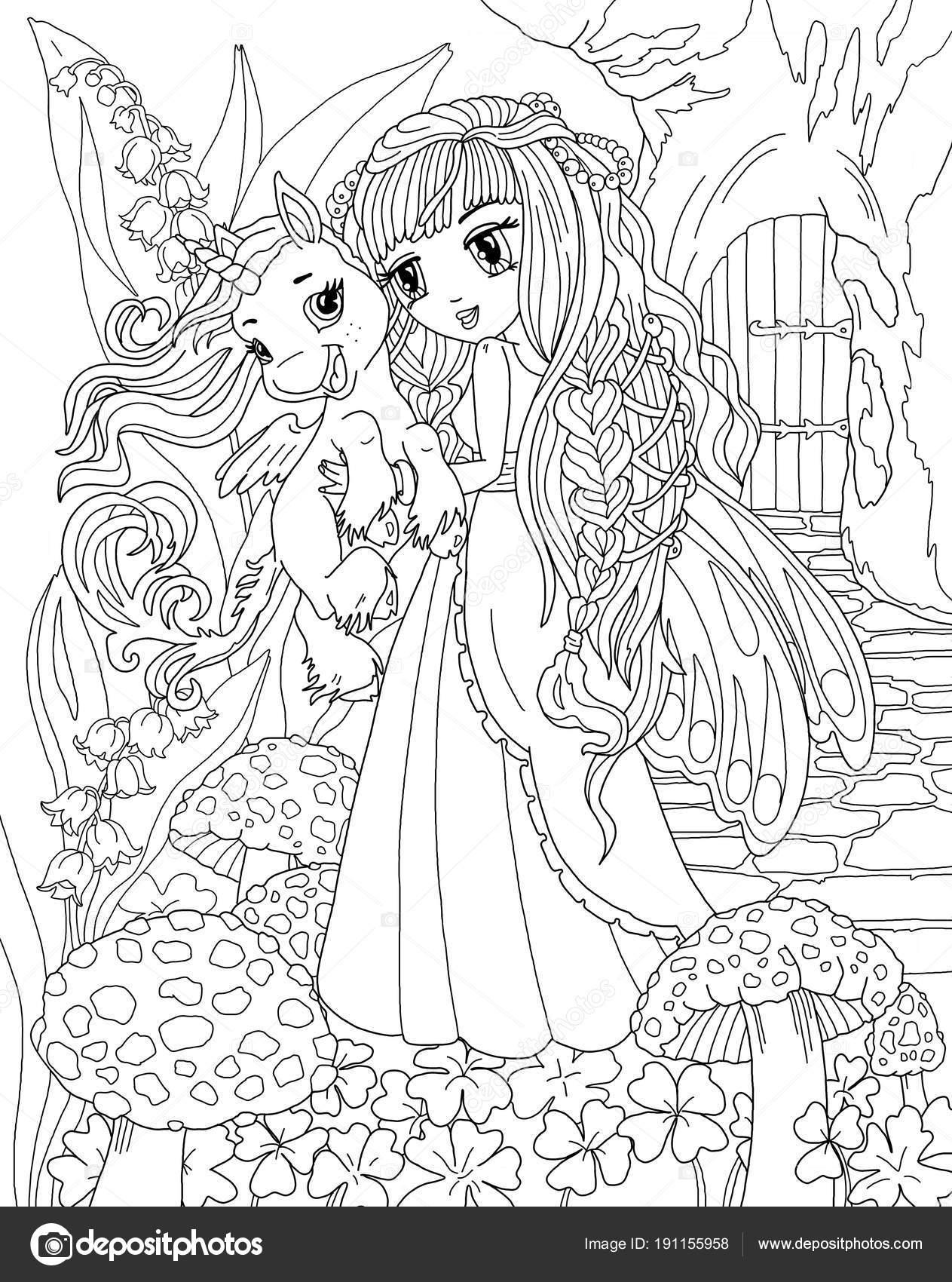 Coloriage Tete Licorne En Amour.Coloriage Licorne Princesse Photographie Larisakuzovkova C 191155958