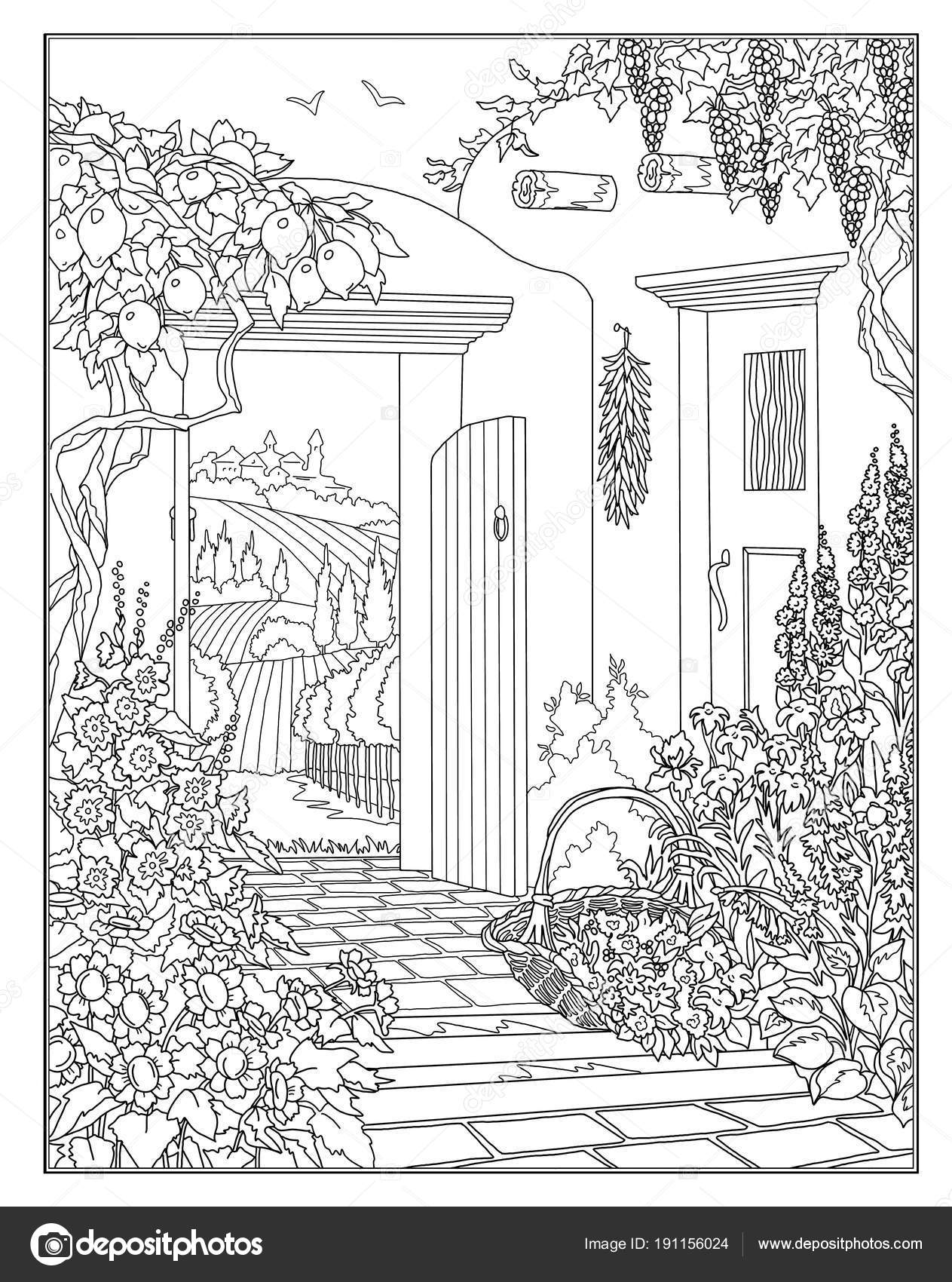 Coloring Page Secret Garden Stock Photo C Larisakuzovkova 191156024