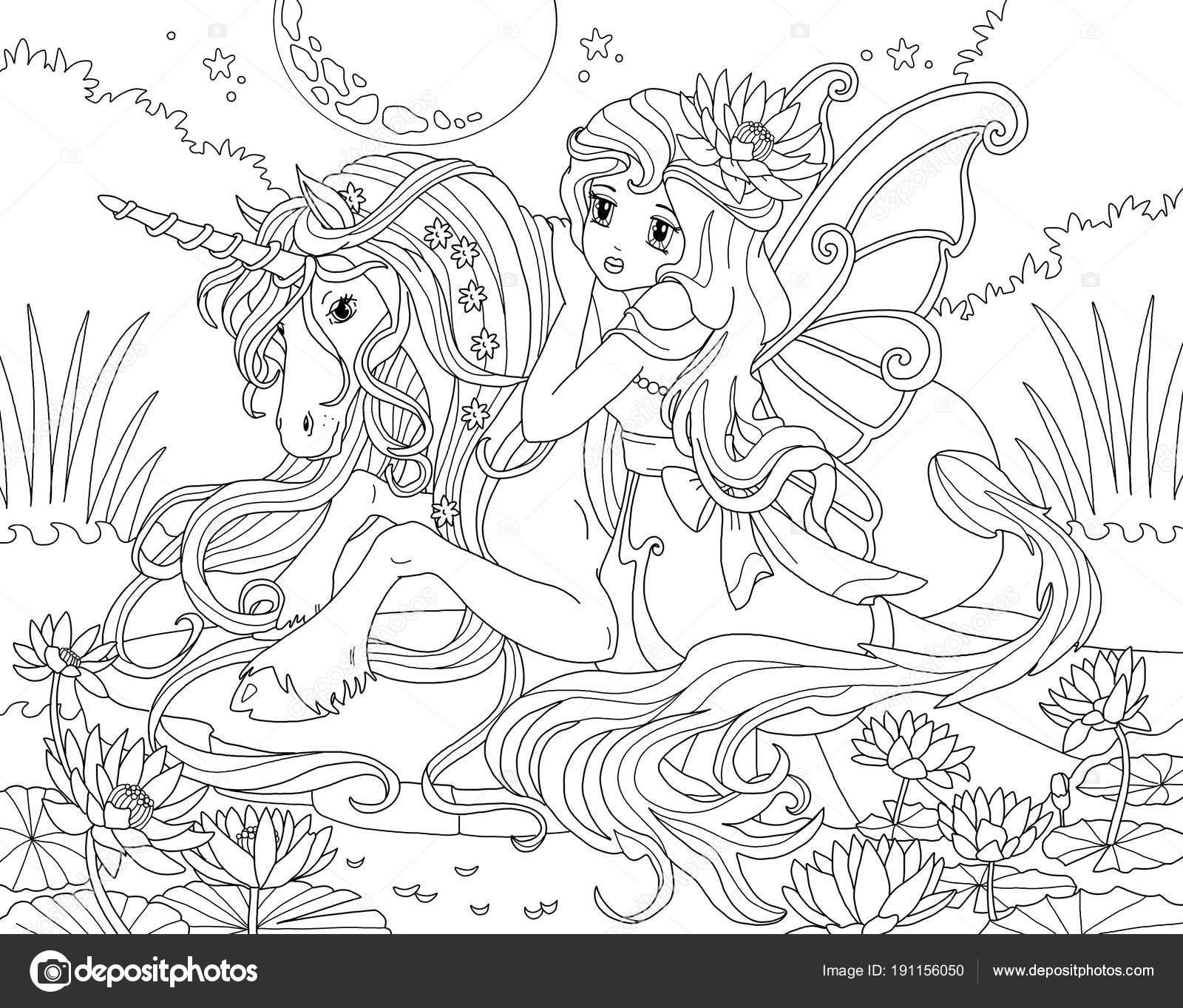 Coloring Page Unicorn Princess Stock Photo C Larisakuzovkova