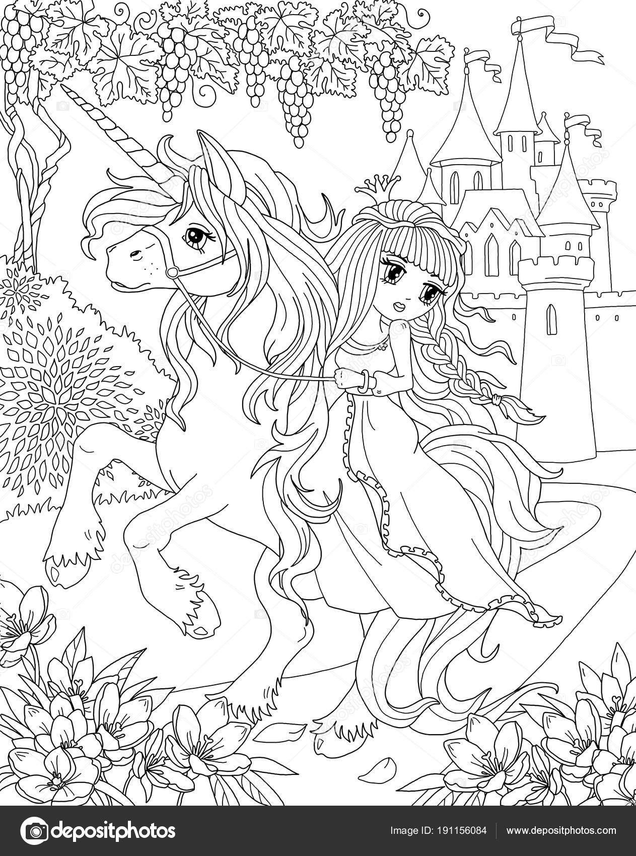 Boyama Sayfası Unicorn Prenses Stok Foto Larisakuzovkova 191156084