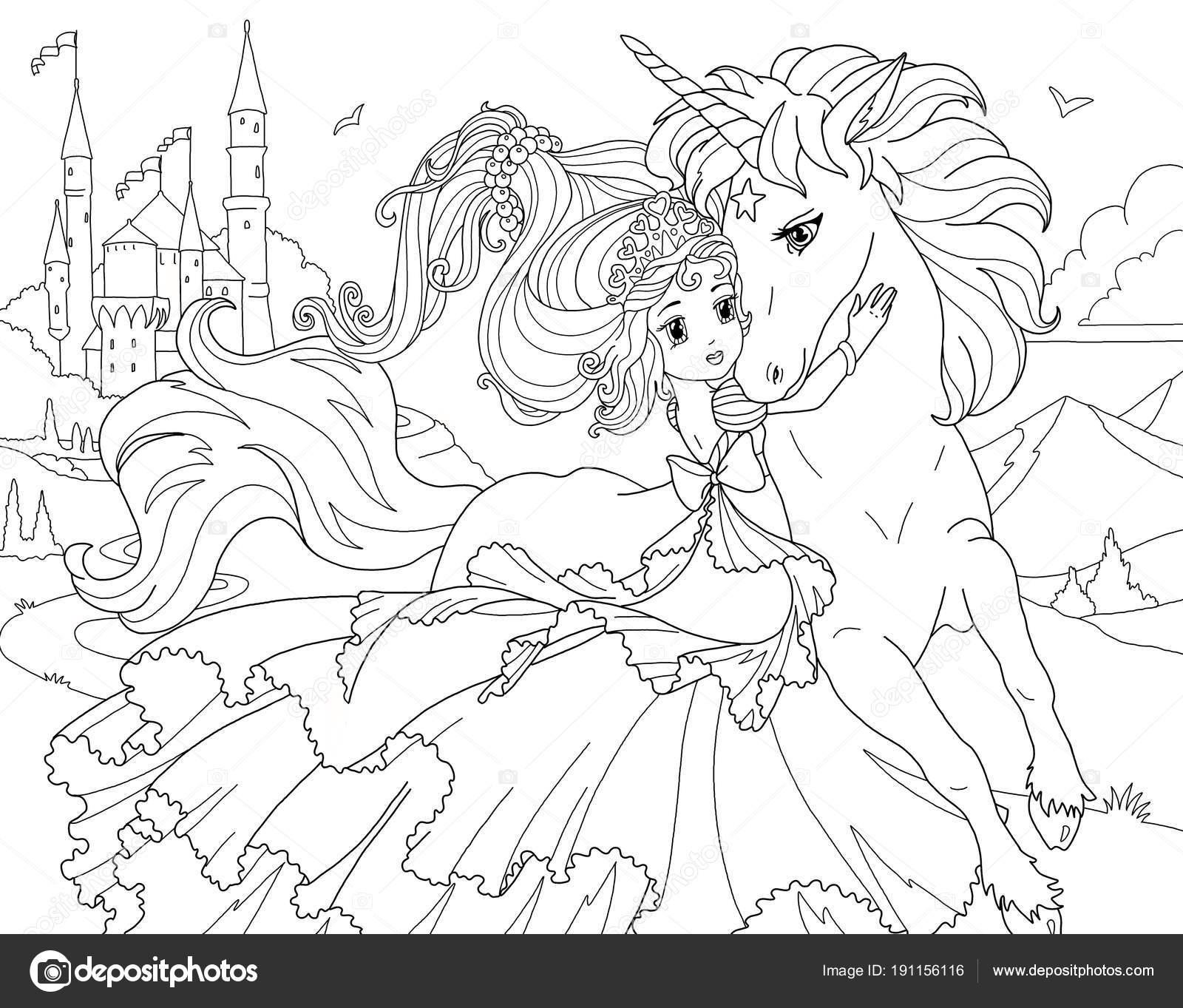Boyama Sayfası Unicorn Prenses Stok Foto Larisakuzovkova 191156116