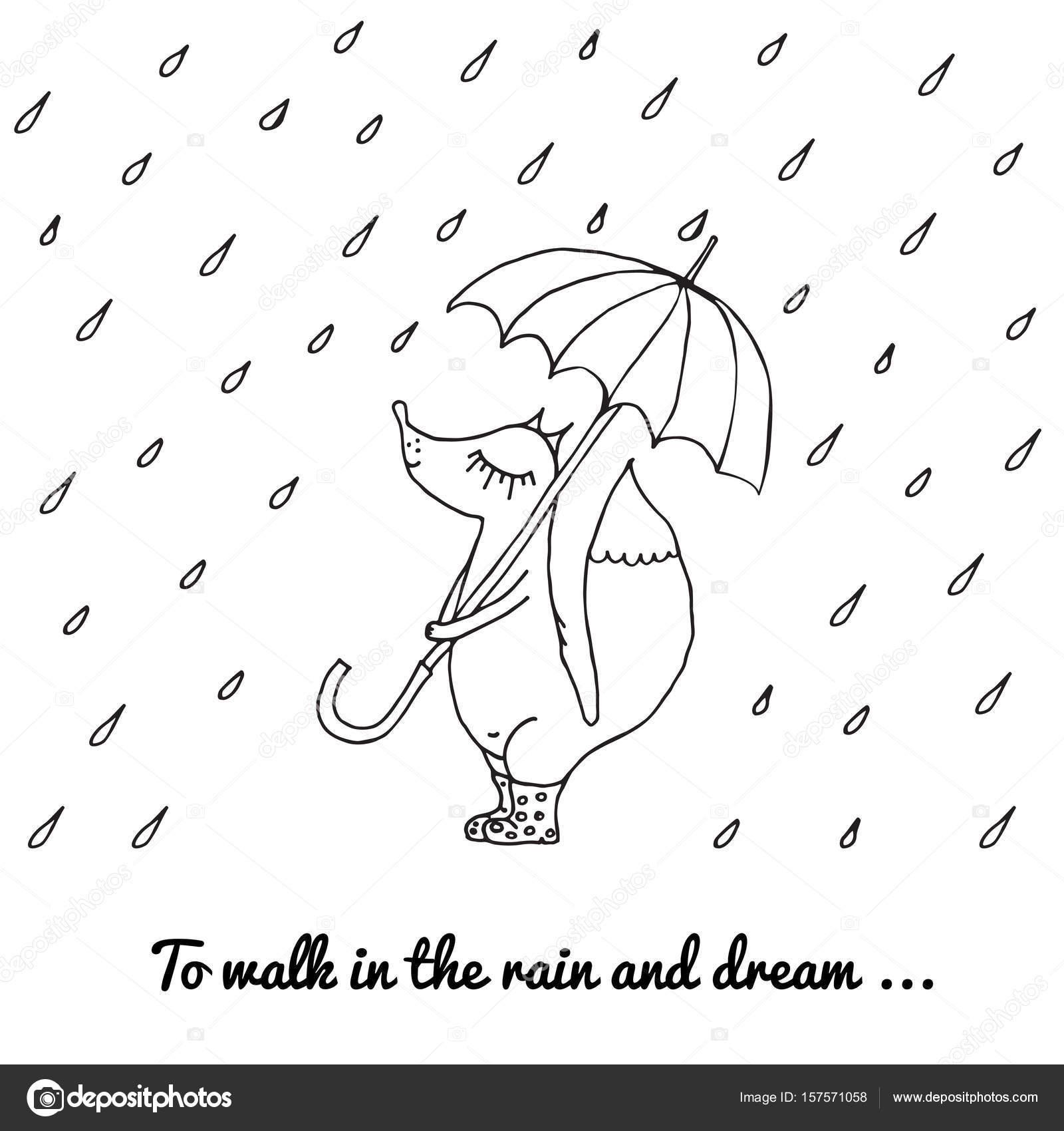 Fox Małe Spacery W Deszczu Z Parasolem I Buty Grafika Wektorowa
