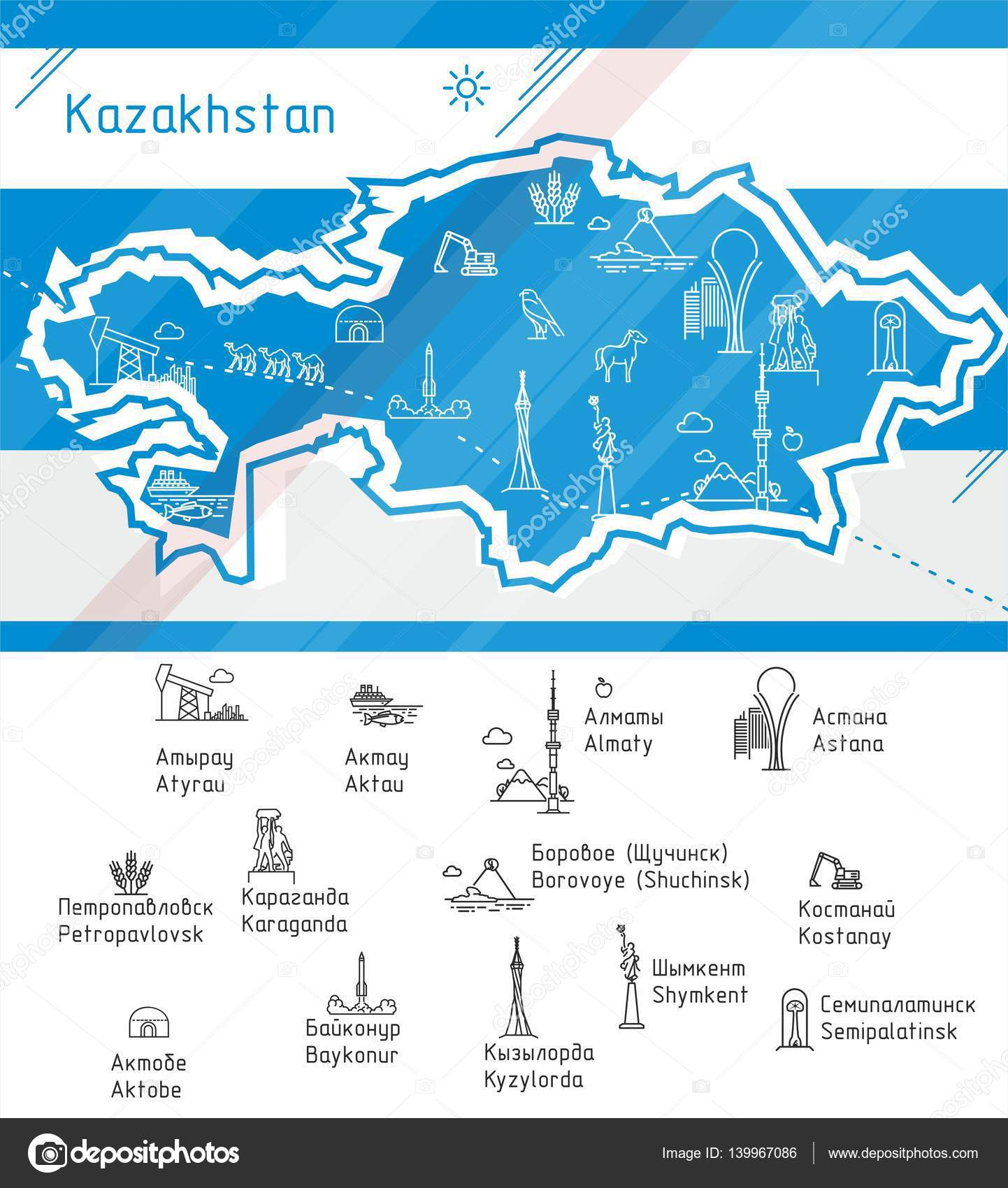 Vector Kazakhstan map with symbols of the major cities Stock