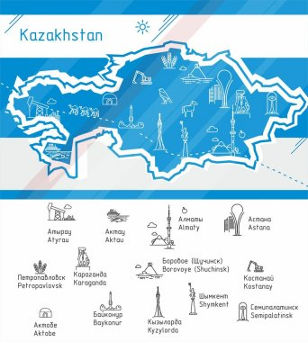 Vector Kazakhstan map with symbols of the major cities.