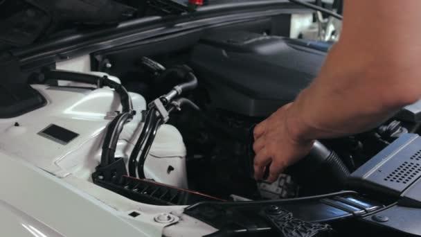Auto služby zaměstnanec mění vzduchový filtr v autě. Auto servis v opravně