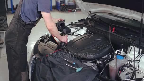 Mechanik muž mění vzduchový filtr v automobilovém zadků. Servis automobilů