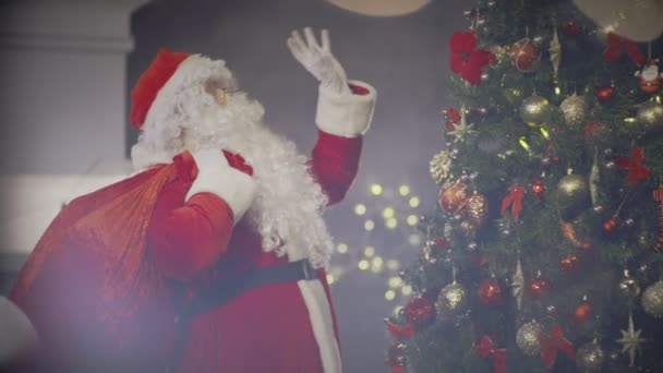Boldog Mikulás tánc jelen táska mögött vissza szinte új év Tree