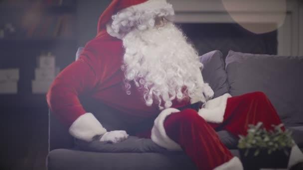 Santa Claus se probudí ze snu a skládací vánoční krabičce v červený pytel