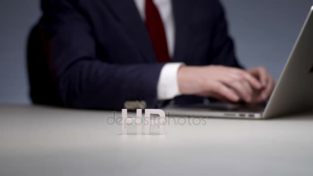 Human resources manager working on laptop. Personnel policy in modern business