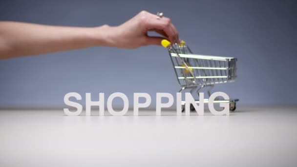 Woman with market trolley on background word shopping on sale and discounts