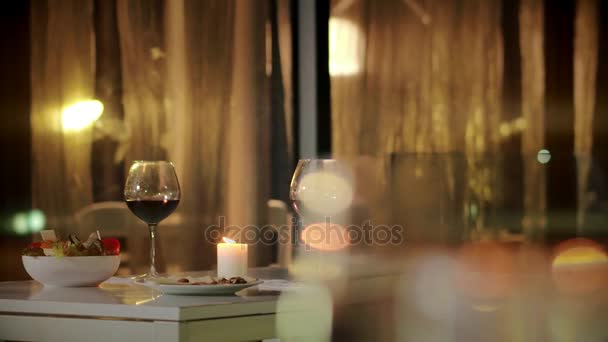 Two Glasses Of Wine Standing On Table In Restaurant Romantic Dinner - Standing table for restaurant