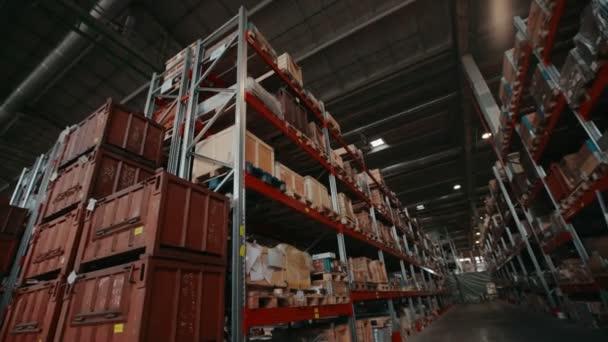 A dobozok és a logisztikai raktár polcokon növényi konténerek kész termékek